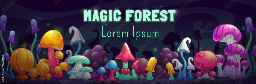 Fototapety, obrazy: Magic forest scene. Unusual fantasy cartoon colorful mushrooms.