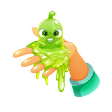 Funny Cartoon Green Slimy Character Sitting On The Hand. Cute Slime Toy.