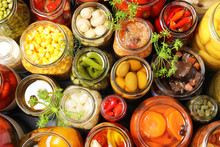 Open Jars With Pickled Vegetab...