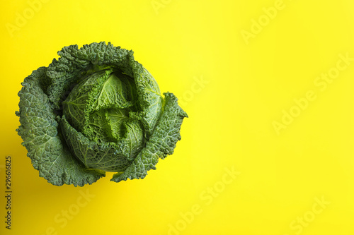 Nature Fresh savoy cabbage on yellow background, top view. Space for text