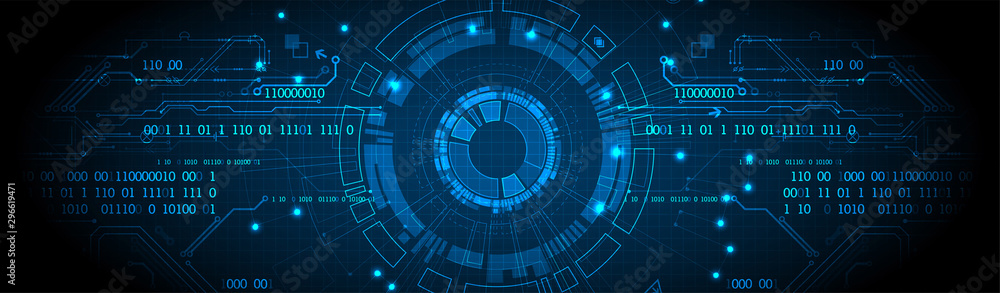 Fototapeta Abstract technology concept. Circuit board, high computer color background. Vector illustration