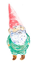 Garden Gnome Watercolor Painted