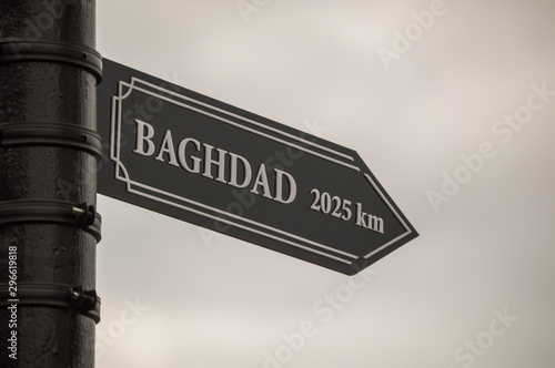Valokuvatapetti Baghdad, Iraq, Middle East. Pointer cities on the post