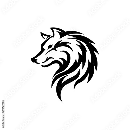 Fototapety, obrazy: Wolf bolt Emblem, mascot head silhouette, Template for business or t-shirt design. Vector