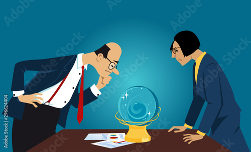 Cuadros en Lienzo Business people staring into a crystal ball, looking for a forecast, EPS 8 vecto