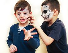 Zombie Apocalypse Kids Concept. Birthday Party Celebration Facepaint On Children Dead Bride, Scar Face, Skeleton Together Having Fun, Halloween People
