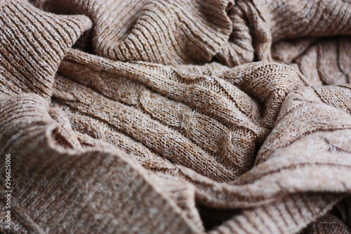Fototapeta Beautiful brown knitted fabric close up view obraz