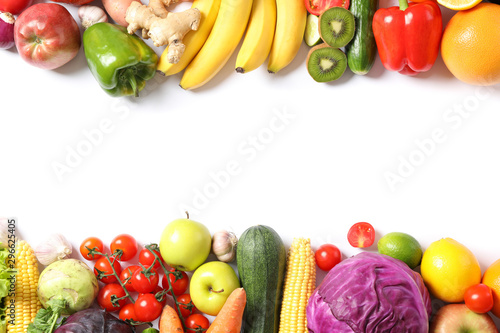 Composition with ripe vegetables and fruits isolated. Top view - 296625405