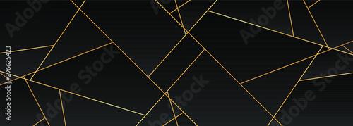 Fotografie, Obraz Dark black and Gold mosaic background