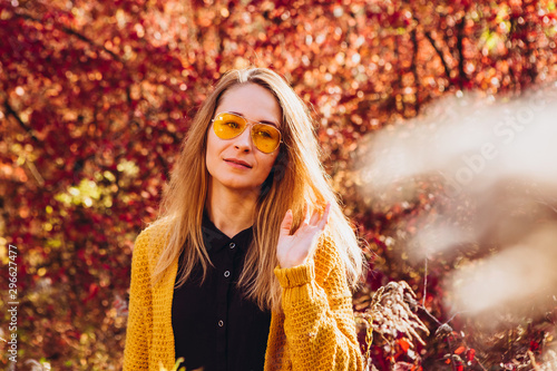 Portrait of blonde girl in the autumn forest. Beautiful girl in yellow cardigan walks in the park. woman in stylish accessories is outdoors. Portrait of girl on the nature at sunset. red bush - 296627477