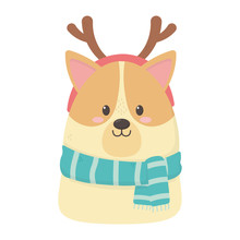 Cute Dog Scarf And Horns Celebration Happy Christmas