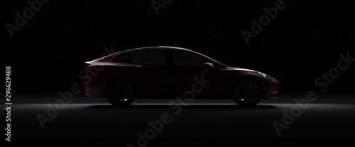 Obraz Back Light Electric Sports Car 3d Render with red car paint in Black Background. Tesla Model 3. - fototapety do salonu