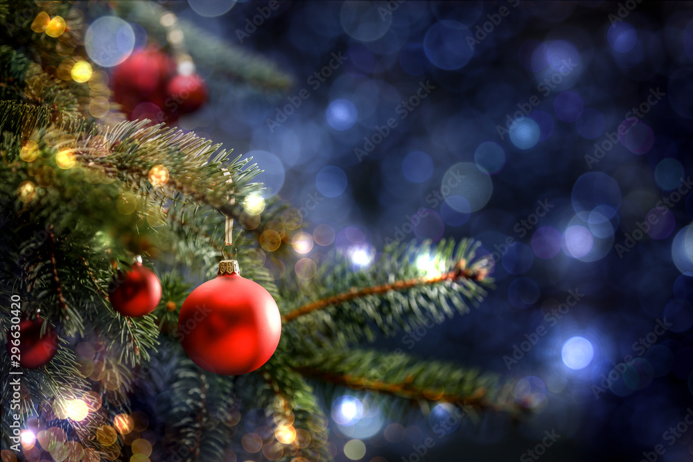 Fototapety, obrazy: Decoration of christmas tree and free space for your text. Winter background