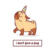 Cute Cartoon Pug Dog With Uni...