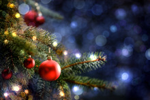 Decoration Of Christmas Tree And Free Space For Your Text. Winter Background