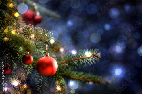 Decoration of christmas tree and free space for your text Canvas