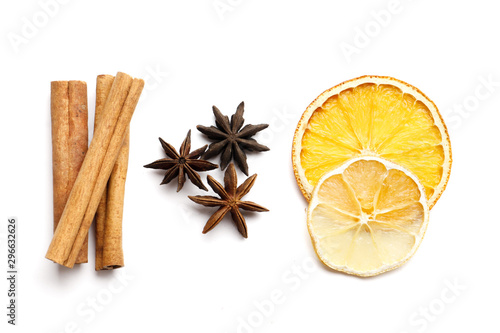 Fototapeta Dried citrus fruits with cinnamon, star anise on white background. Mulled Wine Ingredients obraz