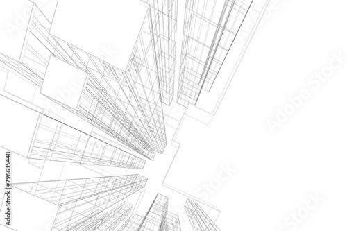 Fototapeta Architecture building 3d. Concept sketch. Vector backdrop obraz