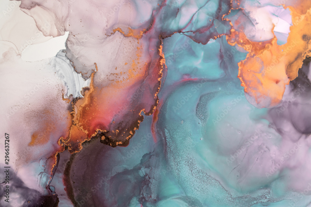 Part of original alcohol ink painting. Modern art. Abstract colorful background, wallpaper. Marble texture. Fluid Art for modern banners, ethereal graphic design.