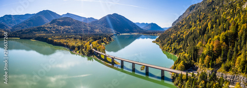 Scenic aerial view of the bridge over Lake Sylvenstein with beautiful reflections Canvas Print