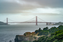 Golden Gate Bridge Viewed From South, San Francisco, Calfornia, Unite  States Of America.