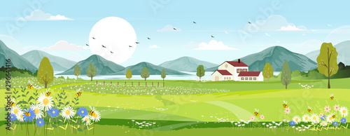 Panorama view of spring village with green meadow on hills with blue sky, Vector cartoon Spring or Summer landscape, Panoramic countryside landscape mountains and lake with wild flowers fields