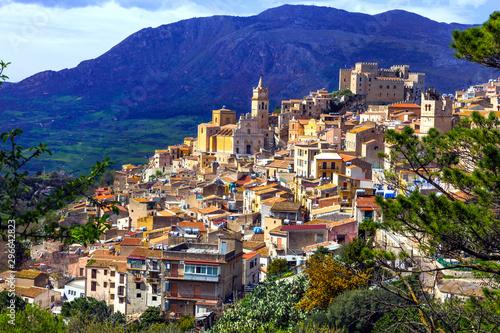 Beautiful mountain medieval village Caccamo in Sicilia, Italy Wallpaper Mural