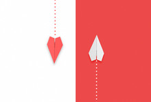 Red And White Paper Airplane Flying Different Directions.different Thinking Concept