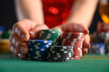 Playing Cards In A Casino, Raising Bets With Chips. Success And Victory. Poker, Blackjack, Texas Poker. Las Vegas