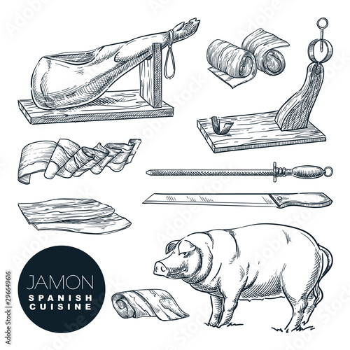 Delicious iberian pork jamon leg and cutting tools Canvas