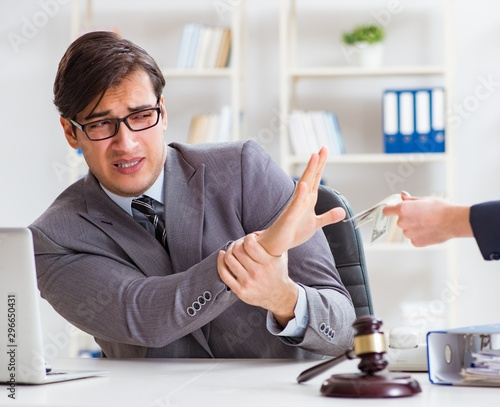 Lawyer being offered bribe for his services Canvas Print