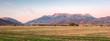Rural sunrise panorama in Heber Valley, Utah, USA.