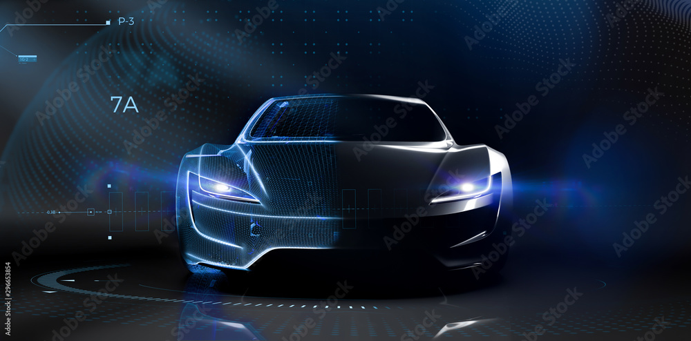 Fototapety, obrazy: Futuristic car technology concept with wireframe intersection (3D illustration)