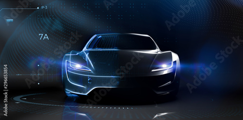 futuristic-car-technology-concept-with-wireframe-intersection-3d-illustration