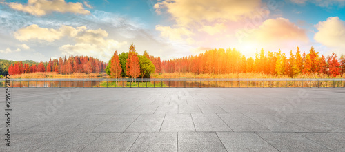 Foto auf Gartenposter Baume Empty square floor and beautiful colorful forest in autumn