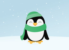 Snowing, Snow, Penguin, Illust...