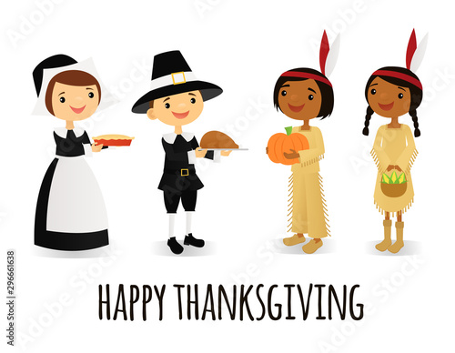 Photo Thanksgiving pilgrims and native Americans