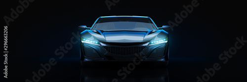 Sports car, studio setup, on a dark background. 3d rendering Tapéta, Fotótapéta