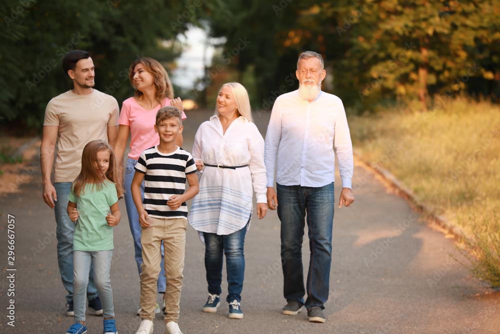 Fototapety, obrazy: Big family walking in park