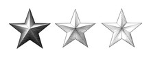 Three Style Of Vintage Engraving Christmas Star Isolated On White BG