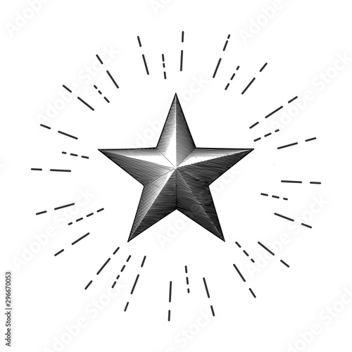 Leinwand Poster Vintage drawing bright christmas star isolated on white BG