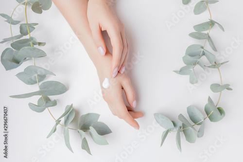 Fotografija Woman applying hand cream flowers eucalyptus on white background, top view