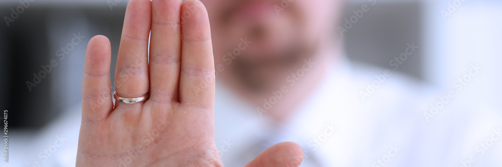 Fototapety, obrazy: Male arm show palm during conference conversation