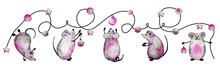 Horizontal Banner With White Metal Rats, Mice, Symbol Of The New Year 2020 Hanging A Christmas Garland. Hand Drawn Watercolor Illustration. Design For Holiday Background, Template, Poster, Postcard.