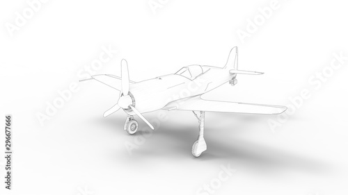 Tela Line illustration of a world war 2 fighter airplane isolated in white background
