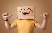 Funny Man Wearing Cardboard Bo...
