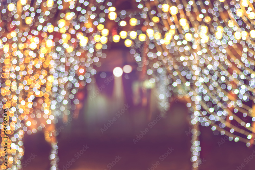 Fototapety, obrazy: abstract sparkling bokeh light of festive party for holiday, glitter christmas lights background.
