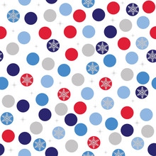 Seamless Polka Dots With Snowflakes Design
