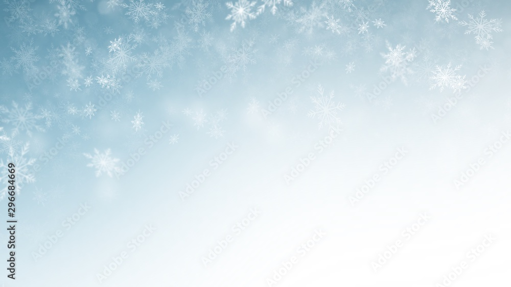 Fototapeta White Snow flake on Blue Background in Christmas holiday