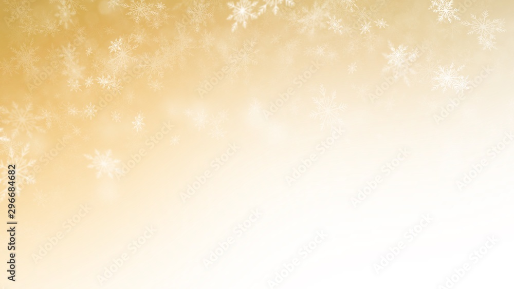 Fototapety, obrazy: White Snow flake on Gold Background in Christmas holiday
